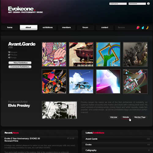 EvokeOne's website in full effect